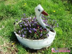 Swan from recycled tire