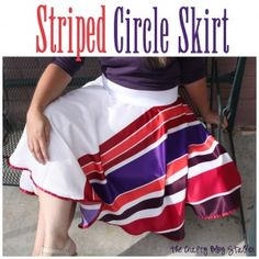 Easy Sew your own Striped Circle Skirt. Find the step by step tutorial here.