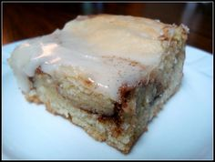 Gooey Snickerdoodle Bars. Pop these in the microwave for a few seconds and it's heaven!
