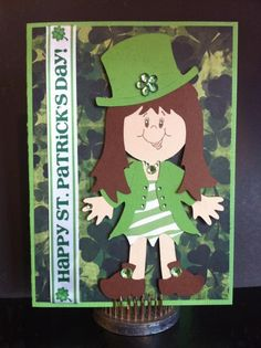 St. Paddy's Day with zebra and bling. Cricut Paper Doll Dress Up and Peachy Keen Stamp.