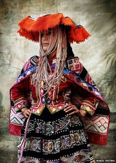 Peruvian wearing tradition festive dress from Cusco ~ Mario Testino, Photographer
