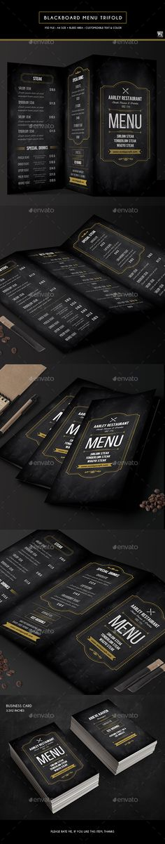 Blackboard Food Menu (Trifold) + Business Card - Food Menus Print Template PSD. Download here: http://graphicriver.net/item/blackboard-food-menu-trifold-business-card/16703288?s_rank=76&ref=yinkira