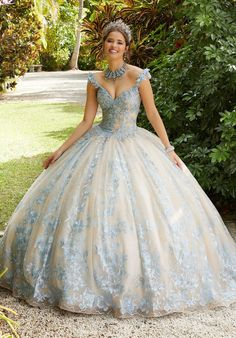 Elegant Quinceañera ballgown featuring rhinestone and crystal beading on embroidered appliqués on allover embroidered tulle over sparkle tulle with three-dimensional appliquéd straps. Mori Lee Quinceanera Dresses, Mori Lee Dresses, Red Ball Gowns, Tulle Ball Gown, Ball Dresses, Sweet 15 Dresses, Elegant Dresses, Quince Dresses, Lace Corset