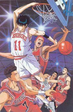 SLAM DUNK (1996) 101 episodios. Hanamichi Sakuragi decide integrarse al equipo de baloncesto del la escuela con la esperanza de conquistar a la hermosa Haruko Akagi, con el tiempo descubrirá que el baloncesto es deporte que lo exigirá y pondrá a prueba sacando lo mejor de él. Es un manga con muchas dosis de comedia, deporte y lecciones de autosuperación.