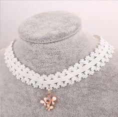 White Lace choker  ~(take off pendant)  1.70 DOLLARS   AliExpress