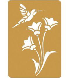 "Darice 3-1/4""x2-1/4"" Brass Embossing Stencil-1PK/Bird&Flower"