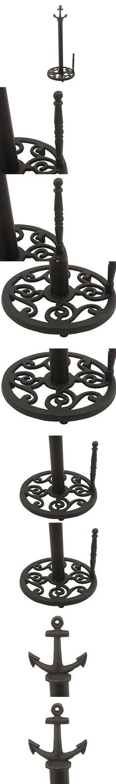 "Hampton Nautical K-1414B-Black 3Xglass-101 Rustic black Cast Iron Anchor Paper Towel Holder 16"" - Nautical Decor - Nautical Home Decoration"