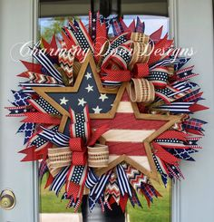 Patriotic Rustic Stars Wreath by CharmingDoorDesigns on Etsy Patriotic Wreath, Patriotic Crafts, July Crafts, Fourth Of July Decor, 4th Of July Decorations, July 4th, 4th Of July Wreaths, Memorial Day Wreaths, Wreath Crafts