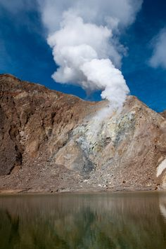 Sulfur vapor on volcanic slope