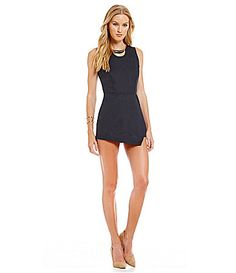 JOA Sleeveless Solid LaceUp Back Romper #Dillards