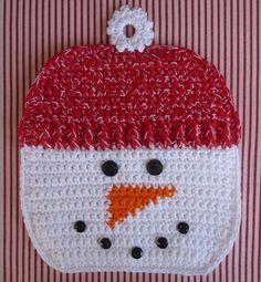 Snowman Potholder Crochet PATTERN❤❤❤