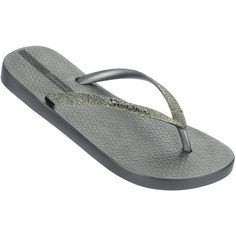 Ipanema Sparkle Flip Flop - Silver (£20) ❤ liked on Polyvore featuring shoes, sandals, flip flops, silver, silver flip flops, silver sparkle shoes, silver evening shoes, ipanema sandals and summer flip flops