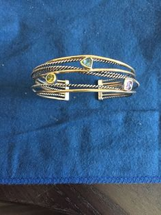Crossover Four Row 925 Silver Cuff with Gold Plated Over Silver CZ Stones   eBay