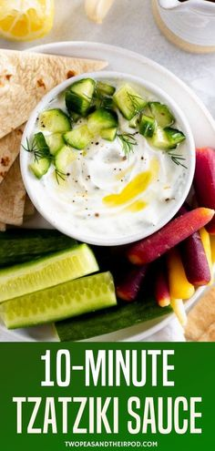 Make your own Tzatziki with this simple recipe! Tzatziki is made with creamy yogurt, cucumber, dill, garlic, and lemon for a really bright and refreshing taste. It's a great dip for vegetables and the perfect sauce to serve with any Greek meal. Tzatziki Sauce Recipe Greek Yogurt, Greek Yogurt Recipes, Tasty, Yummy Food, Yummy Recipes, Vegetable Dips, Middle Eastern Recipes, Cucumber, Delish
