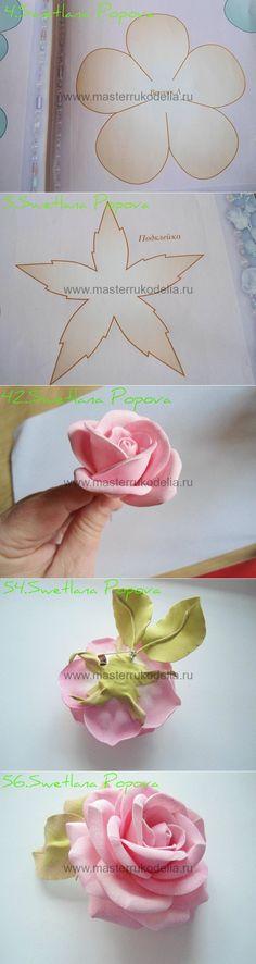 Роза из фоамирана , мастер-класс   Мастер-классы по рукоделию