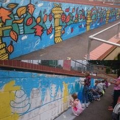 Painting murals with every kid in the world this week. Wall 1 of 3. For @yourwaverley