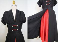 23cf4dc5c809 1940s crepe silk kimono dress  40s crepe silk rayon swing dress  black and  red  small