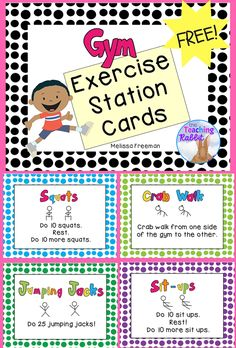 These 8 exercise station cards can be posted around the gym and used as activity centers.