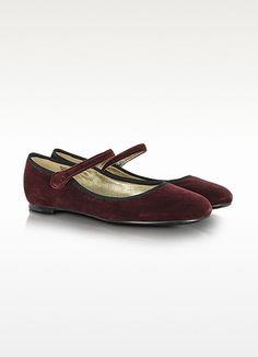 Marc Jacobs Merlot Velvet Mary Jane Shoes | FORZIERI