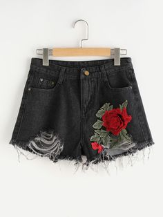 SheIn offers Flower Applique Distressed Denim Shorts & more to fit your fashionable needs. Cosplay Outfits, Edgy Outfits, Teen Fashion Outfits, Mode Outfits, Cute Casual Outfits, Cute Fashion, Girl Fashion, Girl Outfits, Vetement Fashion