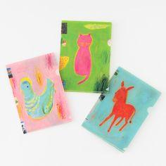 Hobonichi / Hobonichi Folder Set by Ryoji Arai for A6 Size - Accessories Lineup - Hobonichi Techo 2021 Hobonichi Techo, Japanese Stationery, A6 Size, The Donkey, Japan Post, File Folder, Some Ideas, Blue Bird, Illustration