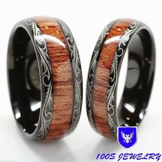 Men & Women\'s Tungsten Carbide Wedding Band Wood Inlay Comfort Fit Ring Set in Jewelry & Watches, Men\'s Jewelry, Rings Wedding Band Sets, Wedding Men, Wedding Rings, Wedding Jewelry, Wedding Church, Gold Wedding, Ring Set, Ring Verlobung, Wood Inlay Wedding Band