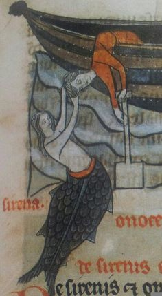 """(BLMedieval Sloane MS 278, 1280-1300) """"A mermaid found a swimming lad, Picked him up for her own, Pressed her body to his body, Laughed; and plunging down Forgot in cruel happiness That even lovers drown.""""― W.B. Yeats"""