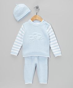 Take a look at this Blue Stripe Knit Sweater Set - Infant by Tots Fifth Avenue on #zulily today!