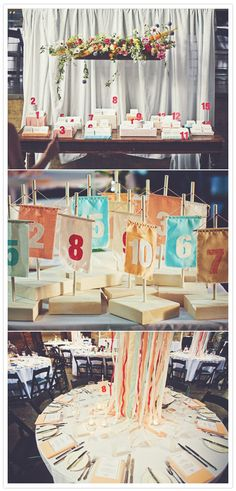 love the hanging flowers in boxes and fabric table numbers. less sure of the ribbon centerpieces Floating Flowers, Hanging Flowers, Seating Chart Wedding, Wedding Table Numbers, Wooden Flower Boxes, Our Wedding, Dream Wedding, Wedding Reception, Deco Buffet