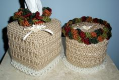 crochet kleenex   ... brand new 2-piece set--a Tissue Box Cover and a Toilet Tissue Cover