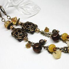 Boucles d'oreilles poétiques et rustiques tortues, pierres de gemmes aragonite et jade mashan, perles de bohême et métal bronze