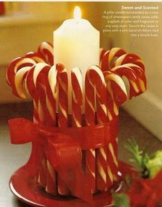 Candy cane candle holder- So easy to make! Christmas Love, All Things Christmas, Christmas Holidays, Christmas Ornaments, Christmas Candle, Christmas Ideas, Christmas Projects, Holiday Crafts, Holiday Fun