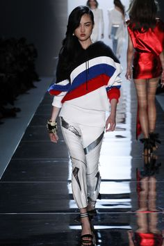 Alexandre Vauthier | Spring 2017 Couture | 07 Black/red/blue striped long sleeve hooded sweater and white/silver cropped trousers