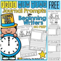 FREE New Year NO PREP Journal Prompts for Beginning Writers - Kindergarten / Grade 1