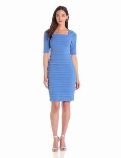 Amazon.com: London Times Women's 3/4 Sleeve Shutter Dress: Clothing