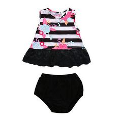 Cute Newborn Baby Girls Floral Sleeveless Striped O-Neck Tops+Short Pants Outfits Sunsuit Set Kids Outfits Girls, Dresses Kids Girl, Girl Outfits, Cute Newborn Baby Girl, Baby Girls, Baby Set, Korean Fashion Street Casual, T Shirt And Shorts, Summer Girls
