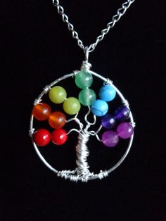 Agape Gift Idea - Rainbow Tree of Life! Seven Chakras Tree of Life Pendant, by IrisJewelryCreations on Etsy Wire Wrapped Jewelry, Wire Jewelry, Beaded Jewelry, Handmade Jewelry, Pandora Jewelry, Tree Of Life Jewelry, Tree Of Life Pendant, Chakra Jewelry, Yoga Jewelry