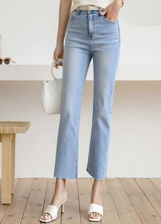 Styleonme_Simple and Basic Ankle Straight Jeans . . #styleonme_global #fashion #instagood #picoftheday #photooftheday #style #ootd #mixandmatch #shopping #instadaily #instafashion #selfie #fashionstagram #kstyle #kfashion #koreanlook #koreandaily #koreanfashion #kbeauty #followme #like4like #dailylook #styleonme #classy #koreanfashion #fashionkorea #ontrend #newarrivals #transitionalclothing #kdramafashion #ss21 #straightjeans #jeans #anklejeans #summerjeans #lightjeans #denimstyling Ankle Jeans, Jeans Pants, Mom Jeans, Korean Look, Light Jeans, Summer Jeans, Korean Women, Daily Look, Korean Fashion