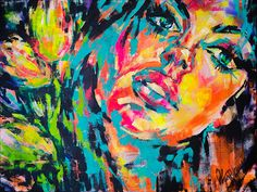 Modern Abstract Art For Sale Of Girl With Tulips