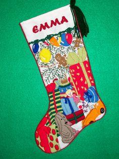 Whimsical Needlework Kit - Christmas Stocking Crewel Embroidery Vintage Toys Scene Under Xmas Tree