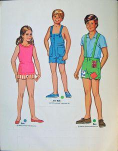 Erin, Jim-Bob and Ben Walton from The Waltons: Paper Dolls of All 7 Walton Children by Whitman, 1975