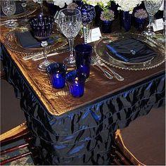 blue and peacock wedding decor