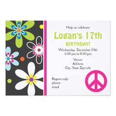 Peace Sign Birthday Invitation - Teen