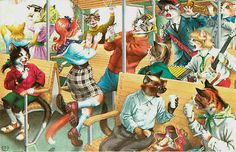 Eugen Hartung Artist Signed Mainzer Dressed Cats Train Party Vintage Postcard