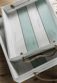 """Portsmouth Crate Trays with Rope Handles 14-1/2"""", 17-3/4"""" Set of 2---- wonder if I can DIY these and use them as shelves in my gallery wall??? I bet I could!"""