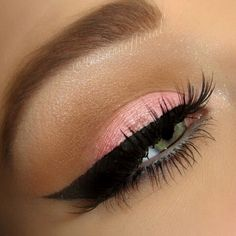 I really wanna try this for school! Wing eyeliner and soft pink eyeshadow.