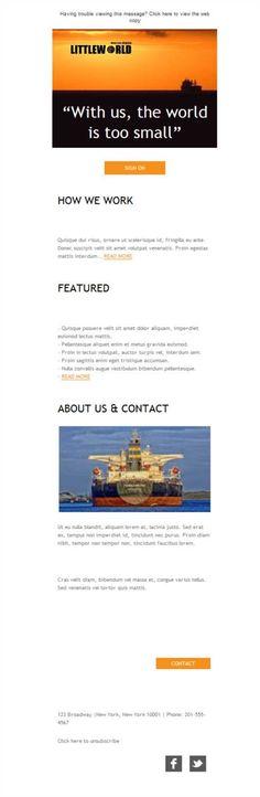 Versión responsive de plantillas newsletter para el sector de transporte marítimo de mercancías. Comunica tu actividad y tus productos que tanto se mueven en alta mar y ahora llegan a todos los puertos y buzones de correo.