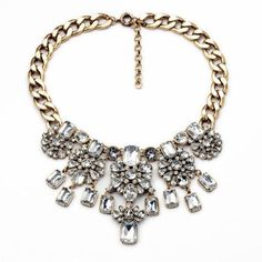 Crystal Droplet Statement Necklace ($16) ❤ liked on Polyvore featuring jewelry, necklaces, accessories, nakit, crystal pendant necklace, crystal jewellery, crystal jewelry, crystal stone jewelry and crystal pendant jewelry