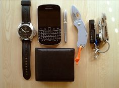 (Submitted) EDC By: Bob  Hi everybody, Hereafter my Everyday carry in a City environment. I will submit also net time an Everyday carry in a Country environment.  Panerai Luminor GMT - Purchase on Amazon BlackBerry 9900- Purchase on Amazon Leather Wallet- Purchase on Amazon Fisher Space Pen- Purchase on Amazon Bladetech Ratel Folding Knife Keyring with Fenix E05 (Standard AAA Battery, 27 Lumens), Titanium Shrade Prytool