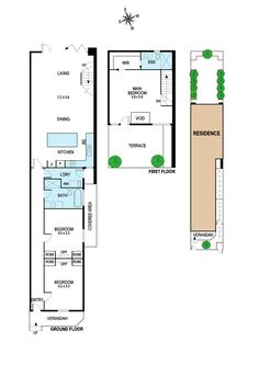 Floorplan for traditional single-fronted layout with modern rear living area and upstairs bedroom addition.